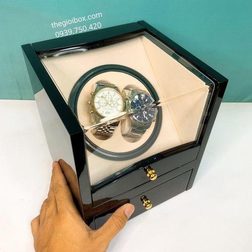 Hộp Đựng Đồng Hồ Cơ 2 Xoay + Ngăn Kéo Vỏ Gỗ - Mã CO1100