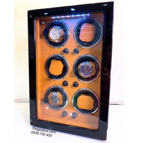 Tủ Hộp Xoay Đồng Hồ Cơ - 6 Ngăn Xoay Bằng Gỗ [Đỏ Sporty] - Mã TU660DS