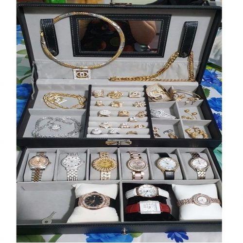 Hộp Đựng Đồng Hồ 6 Chiếc & Trang Sức Vỏ Da - Mã DH6TS