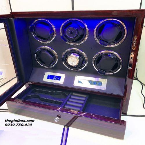 Tủ Lắc Đồng Hồ Cơ 6 Xoay [Có Remote + Ngăn Kéo] - Mã TU6NK