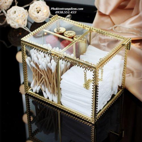Hộp Đựng Tăm Bông & Tẩy Trang Mạ Vàng Golden Có Nắp - Mã HTBG