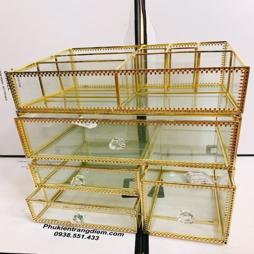 Khay Kệ Đựng Mỹ Phẩm 3 Tầng Viền Mạ Vàng Golden - Mã K3TG