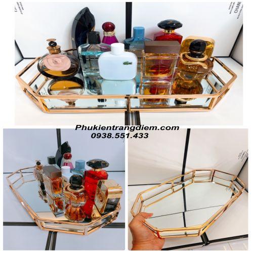 Khay Đựng Mỹ Phẩm Nước Hoa Viền Vàng Hồng Luxury - Mã KGH42