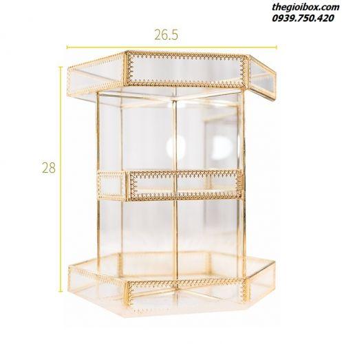 Khay Kệ Trang Điểm Xoay Golden Viền Vàng [Lục Giác] - Mã KGLG01