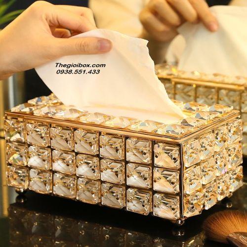 Hộp Đựng Khăn Giấy - Giấy Ăn Pha Lê Mạ Vàng Golden - Mã KGPL