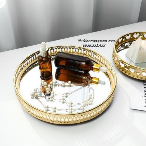 [Mẫu Tròn] Khay Trang Trí Mạ Vàng Đựng Mỹ Phẩm Nước Hoa - Mã KGT34