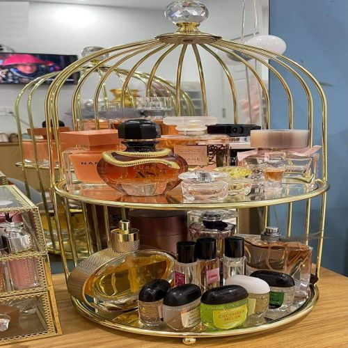 Kệ Đựng Nước Hoa Mỹ Phẩm Lồng Chim Mạ Vàng 2 Tầng - Mã KLC2T