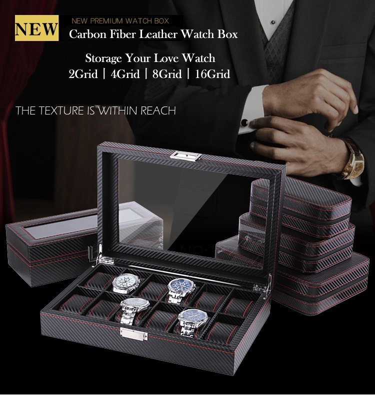 hộp đựng đồng hồ đeo tay bằng da cacbon 12 chiếc