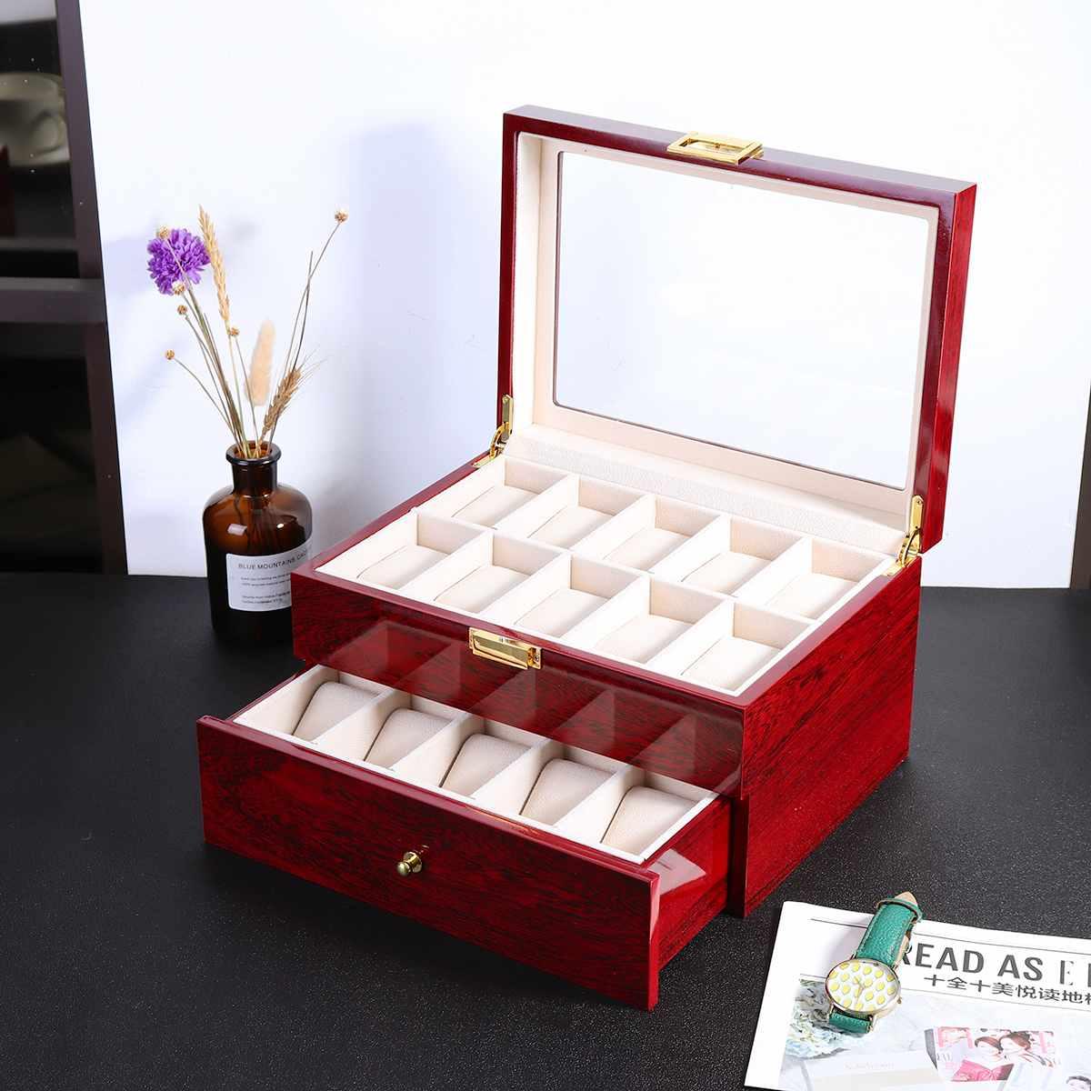 hộp đựng đồng hồ bằng gỗ màu đỏ 20 cái sang trọng