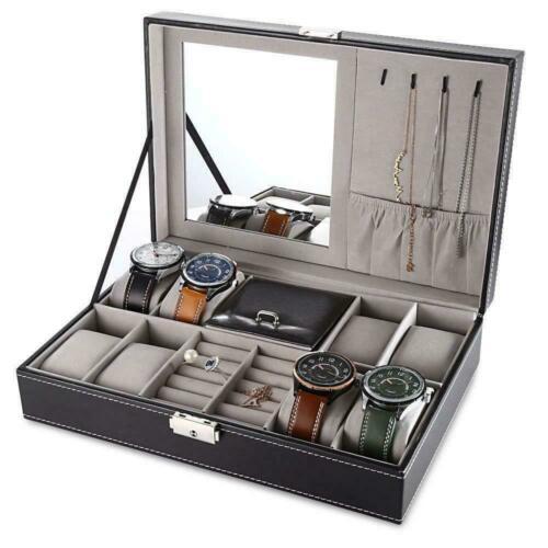 hộp đựng đồng hồ trang sức treo dây chuyền bông tai kèm gương soi