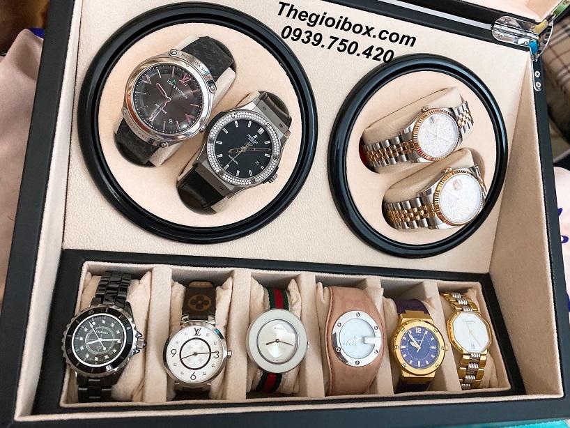 hộp lắc đồng hồ cơ xoay 4 ngăn đẹp cao cấp giá rẻ tphcm