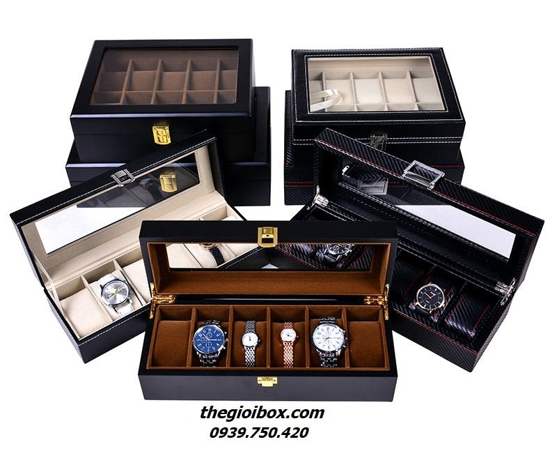 mua bán hộp đựng đồng hồ đeo tay nhiều ngăn bằng da bằng gỗ tphcm