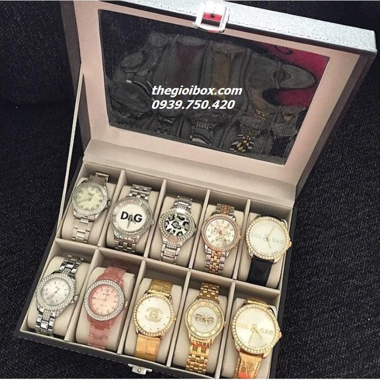 Hộp đựng đồng hồ 10 chiếc vỏ da giá rẻ ở tphcm