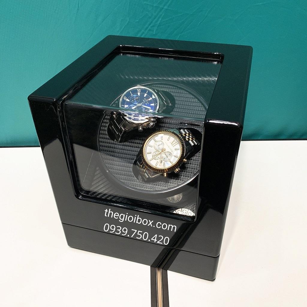 Hộp đựng đồng hồ cơ 2 ngăn xoay vỏ gỗ nhiều chế độ