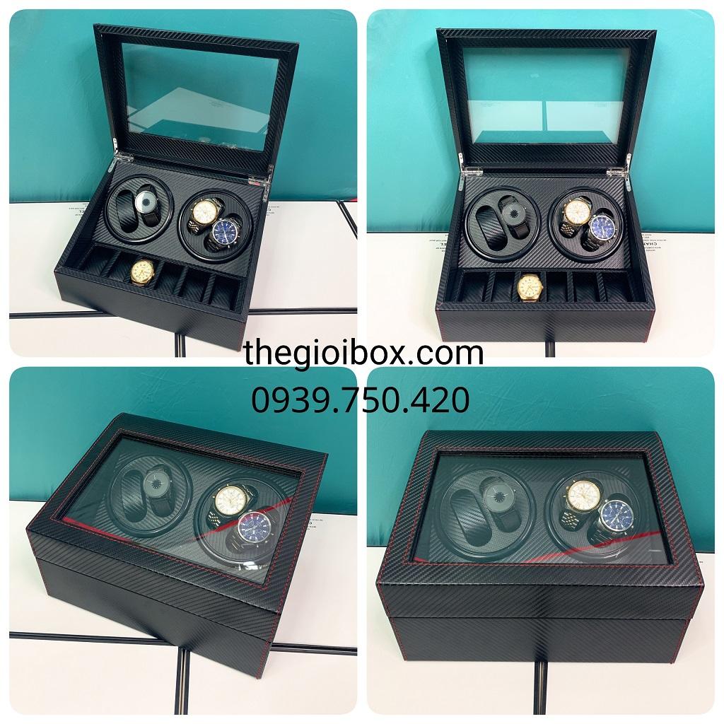 Hộp lắc đồng hồ cơ 4 ngăn xoay + 6 ngăn tĩnh da cacbon