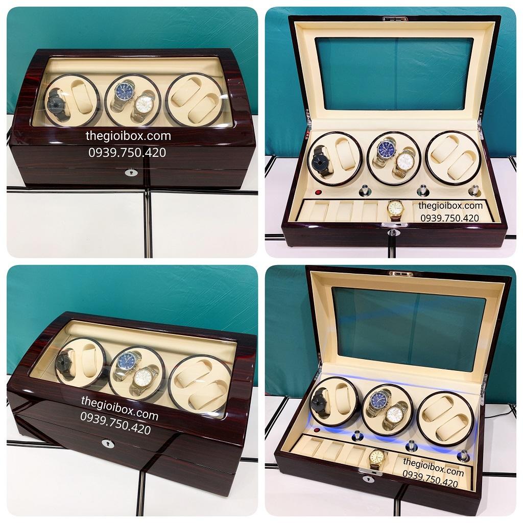 Hộp lên dây cót đồng hồ cơ 6 ngăn xoay +7 ngăn tĩnh vỏ gỗ cao cấp có đèn led