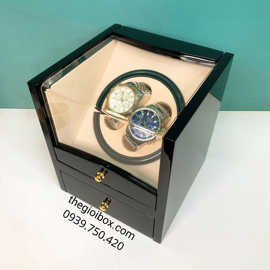 Hộp đựng đồng hồ cơ 2 ngăn xoay bằng gỗ đen bóng, sang trọng