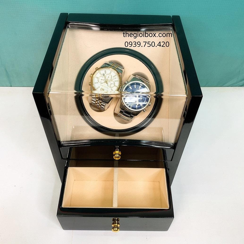 Hộp đựng đồng hồ cơ 2 ngăn xoay bằng gỗ