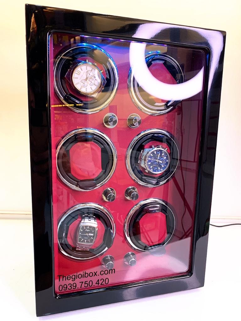 tủ hộp xoay đồng hồ cơ 6 ngăn cao cấp sang trọng vỏ gỗ giá rẻ