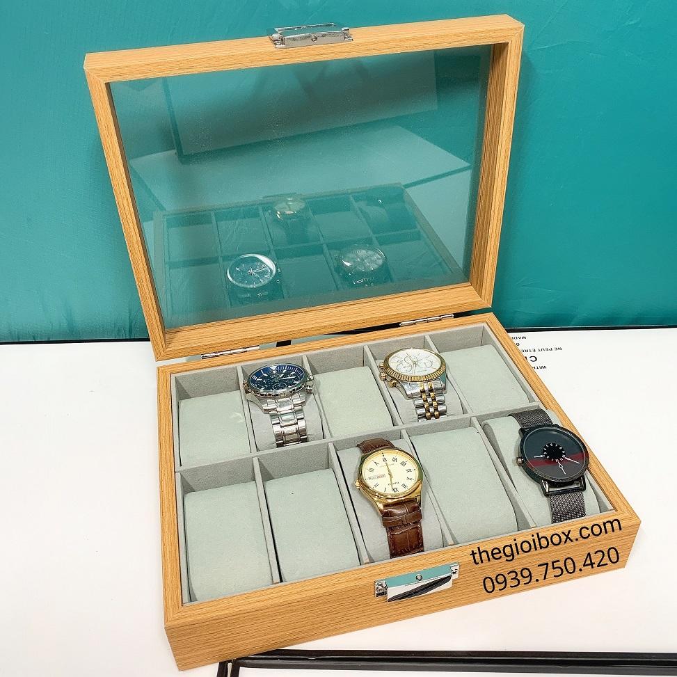 Hộp đựng đồng hồ 10 chiếc bằng gỗ sần cao cấp, sang trọng - DH10GS