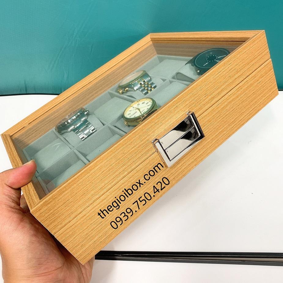 Hộp đựng đồng hồ 10 chiếc bằng gỗ sần cao cấp, sang trọng