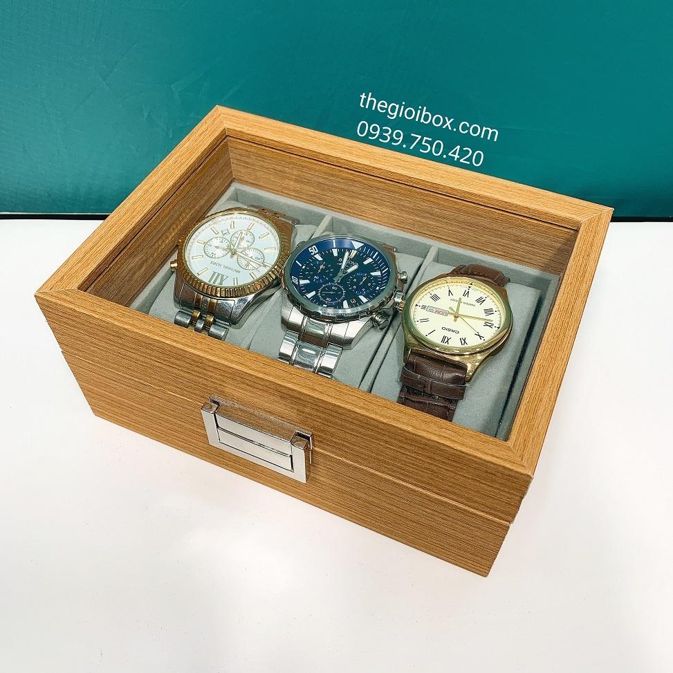 Hộp đựng đồng hồ 3 chiếc vỏ gỗ cao cấp, sang trọng