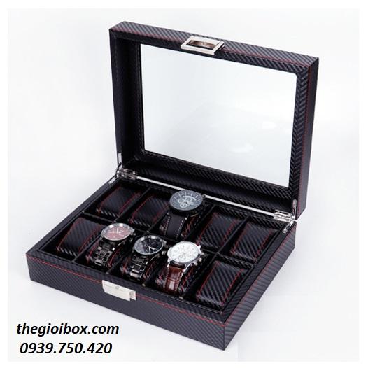 Hộp đựng đồng hồ da cacbon 10 ngăn cao cấp, giá rẻ