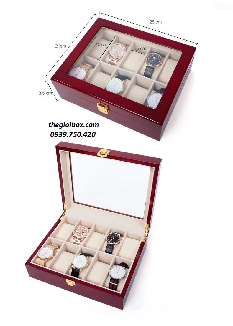 Hộp đựng đồng bằng gỗ 10 ngăn cao cấp, giá rẻ
