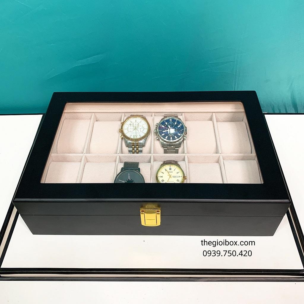 Hộp đựng đồng hồ vỏ gỗ đen cao cấp, sang trọng 12 ngăn