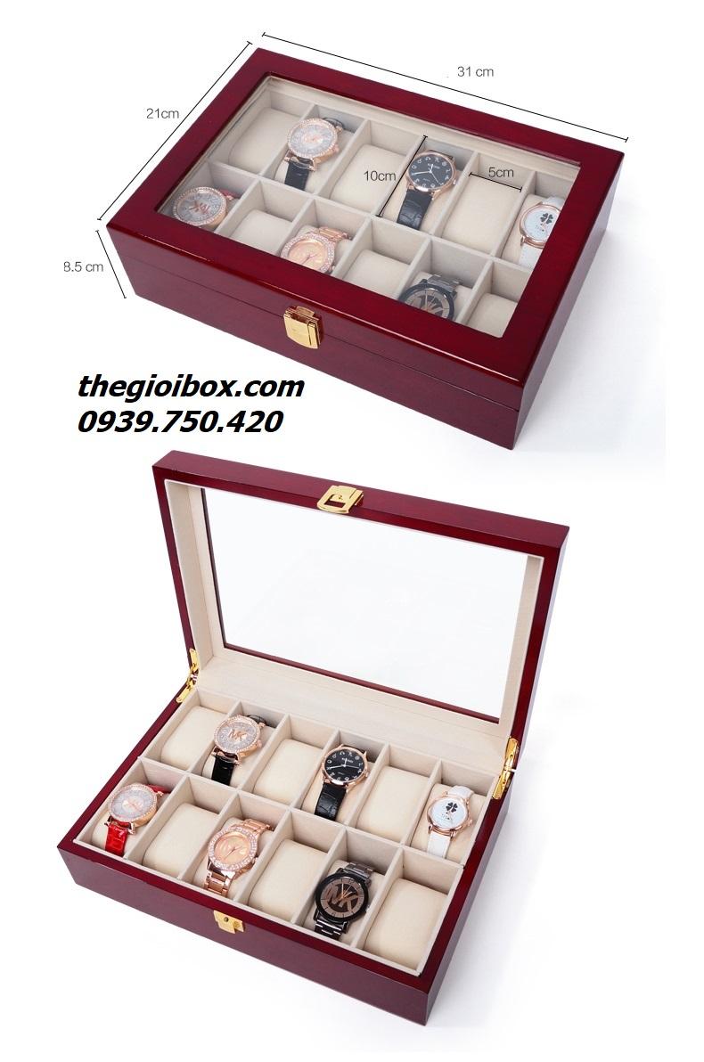 hộp khay đựng đồng hồ 12 chiếc bằng gỗ bóng