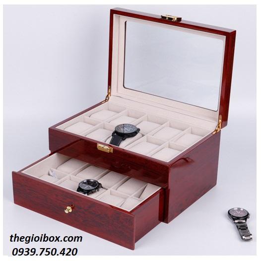 Hộp đựng đồng hồ vỏ gỗ cao cấp, sang trọng 20 ngăn