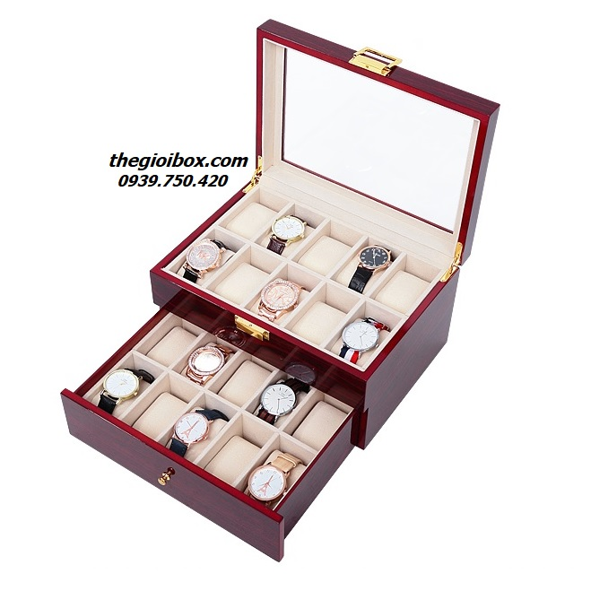 hộp đựng đồng hồ bằng gỗ 20 chiếc