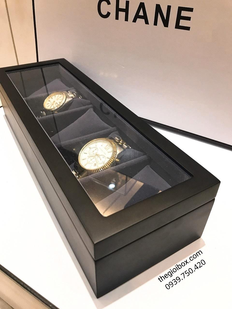 Hộp đựng đồng hồ 5 chiếc vỏ gỗ màu đen mờ sang trọng