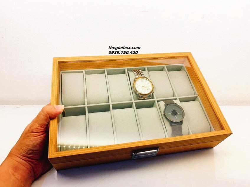 hộp đựng đồng hồ bằng gỗ 12 ngăn có nắp đậy