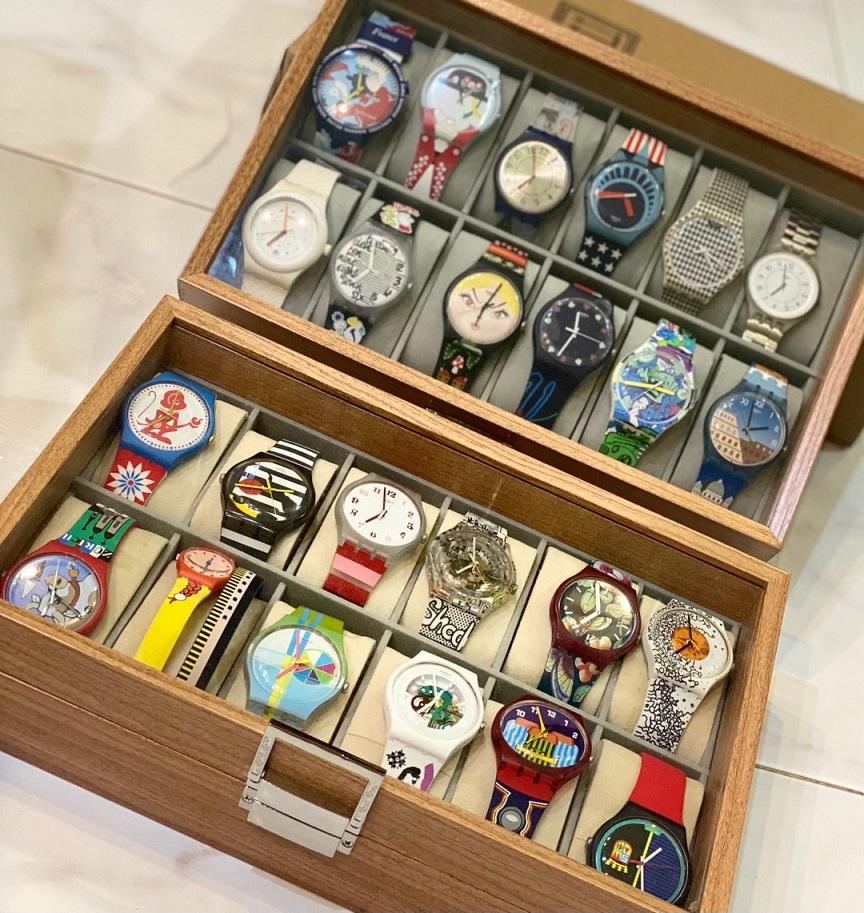 hộp gỗ đựng đồng hồ 12 ngăn sang trọng đẹp mắt có nắp kính