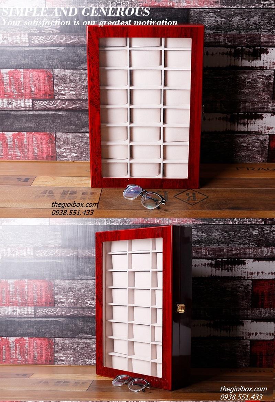 hộp để trưng bày đồng hồ 24 chiếc vỏ bằng gỗ
