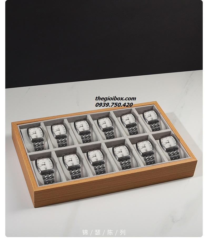 khay kệ trưng bày đồng hồ bằng gỗ 12 ngăn đẹp tphcm