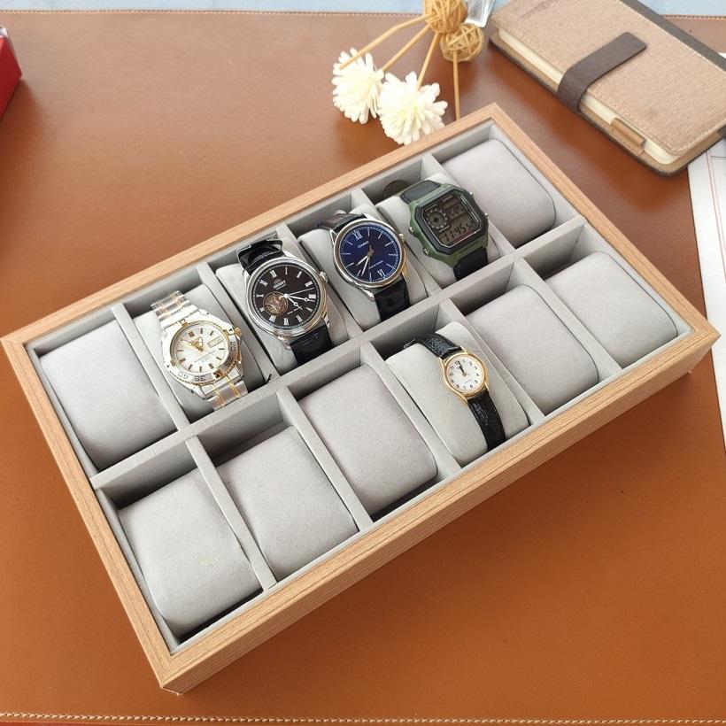 khay để trưng bày đồng hồ đeo tay 12 ô bằng gỗ