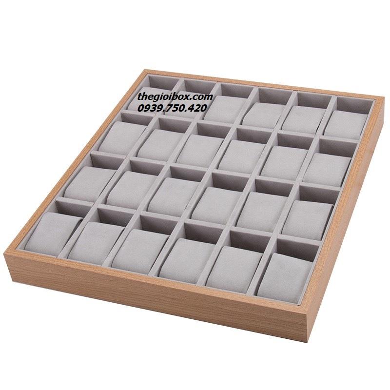 khay đựng trưng bày đồng hồ 24 ngăn bằng gỗ giá rẻ