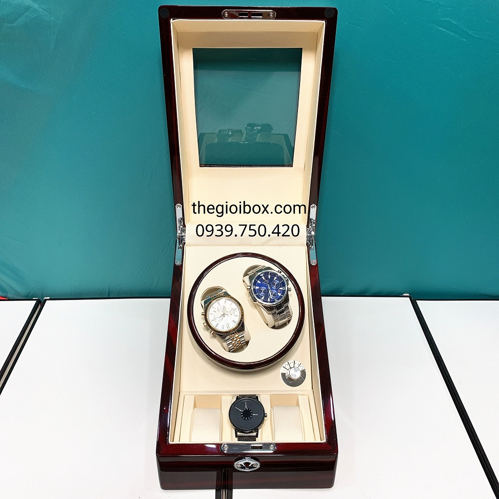 Hộp đựng đồng hồ tự động 2 ngăn xoay - 3 cố định vỏ gỗ có đèn led