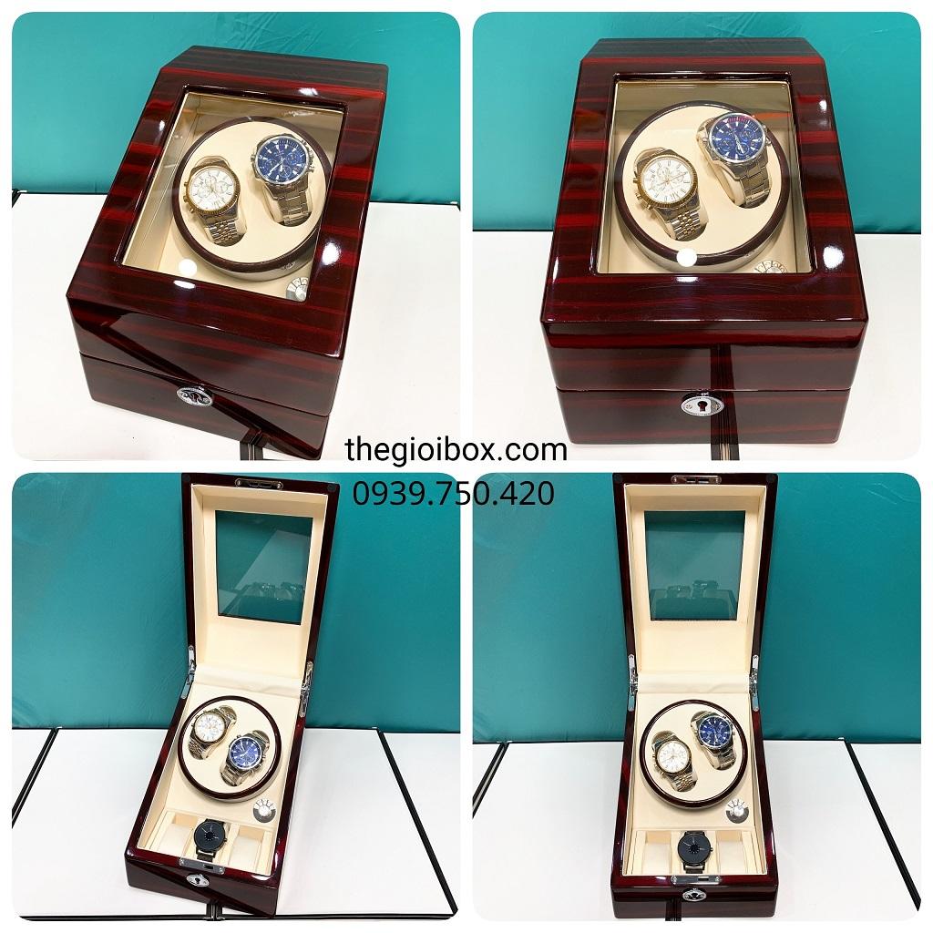 Hộp đựng đồng hồ tự động 2 ngăn xoay - 3 cố định màu nâu