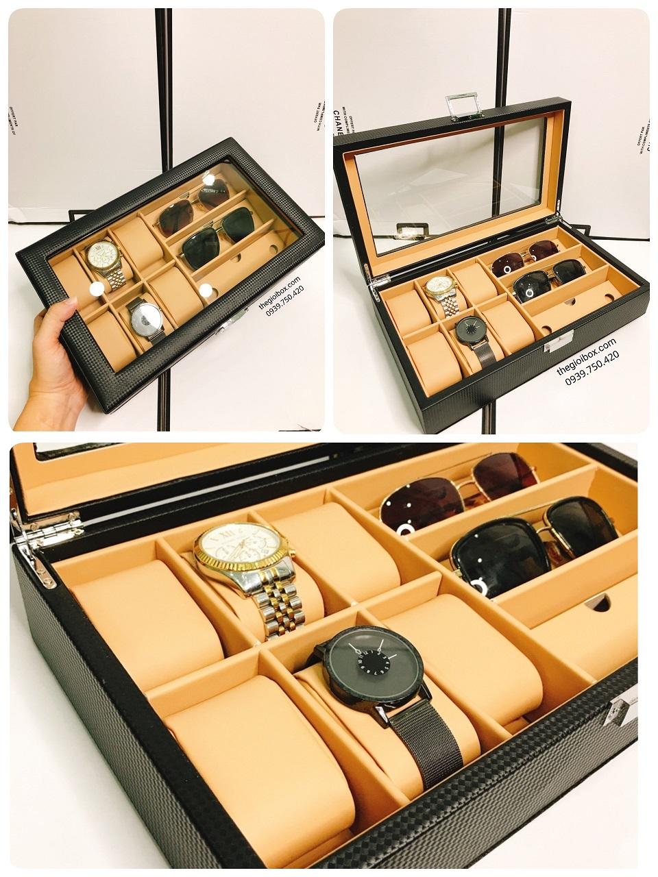 Hộp đựng đồng hồ 6 chiếc và 3 mắt kính da cacbon cao cấp