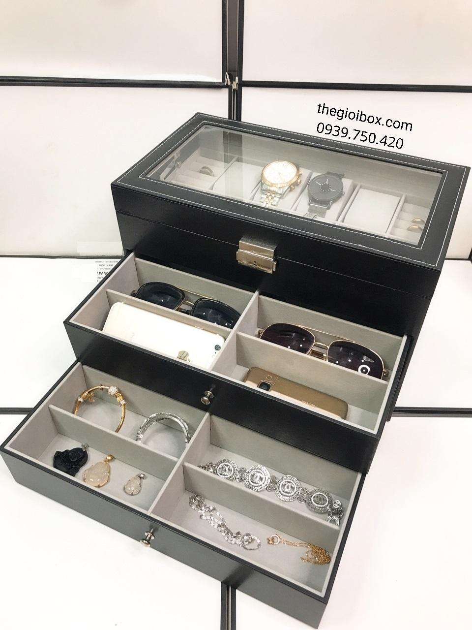 Hộp đựng đồng hồ 8 chiếc + 12 mắt kính vỏ da cao cấp, giá rẻ