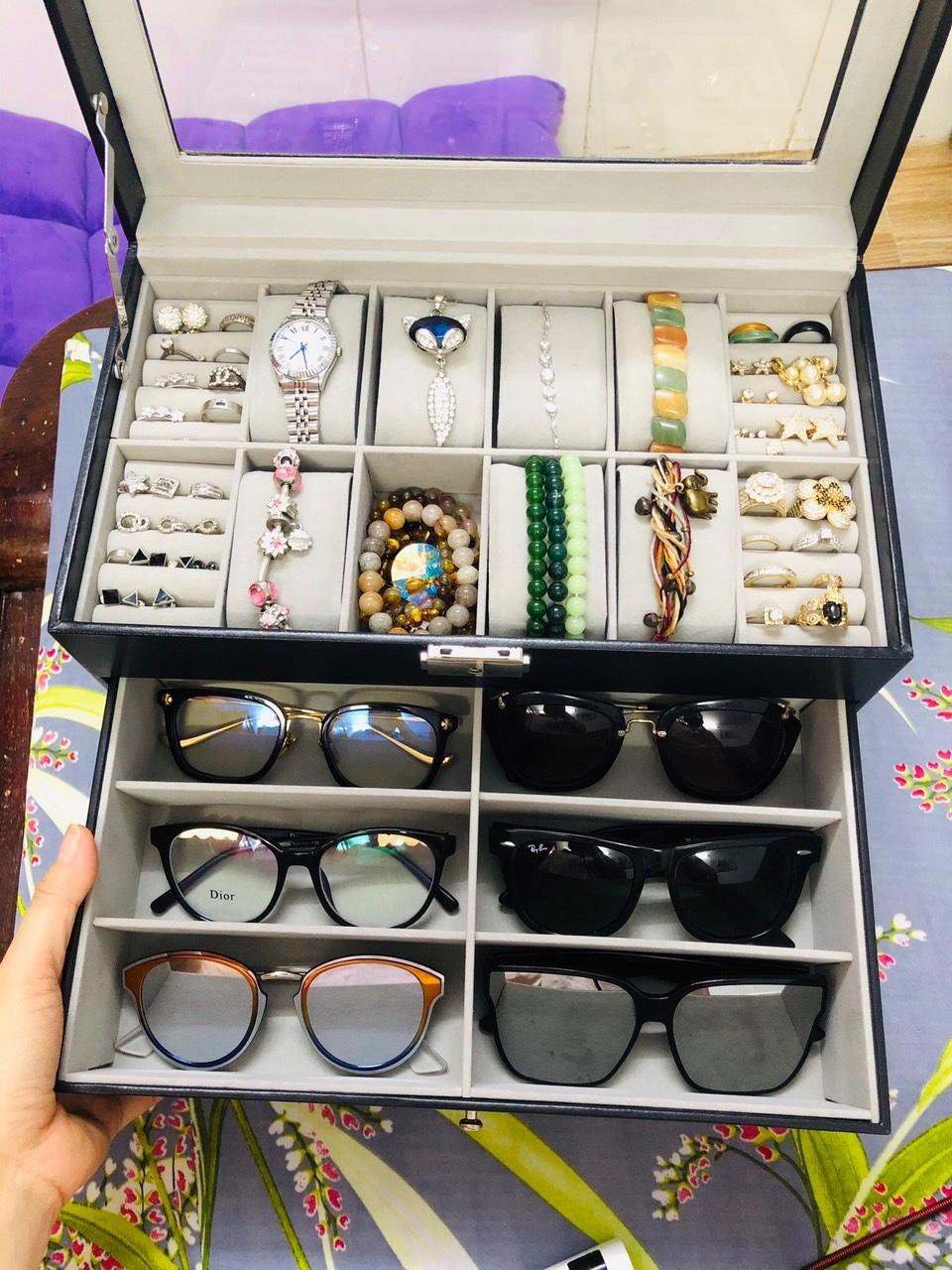 hộp đựng đồng hồ, mắt kính và trang sức 3 ngăn có nắp đậy