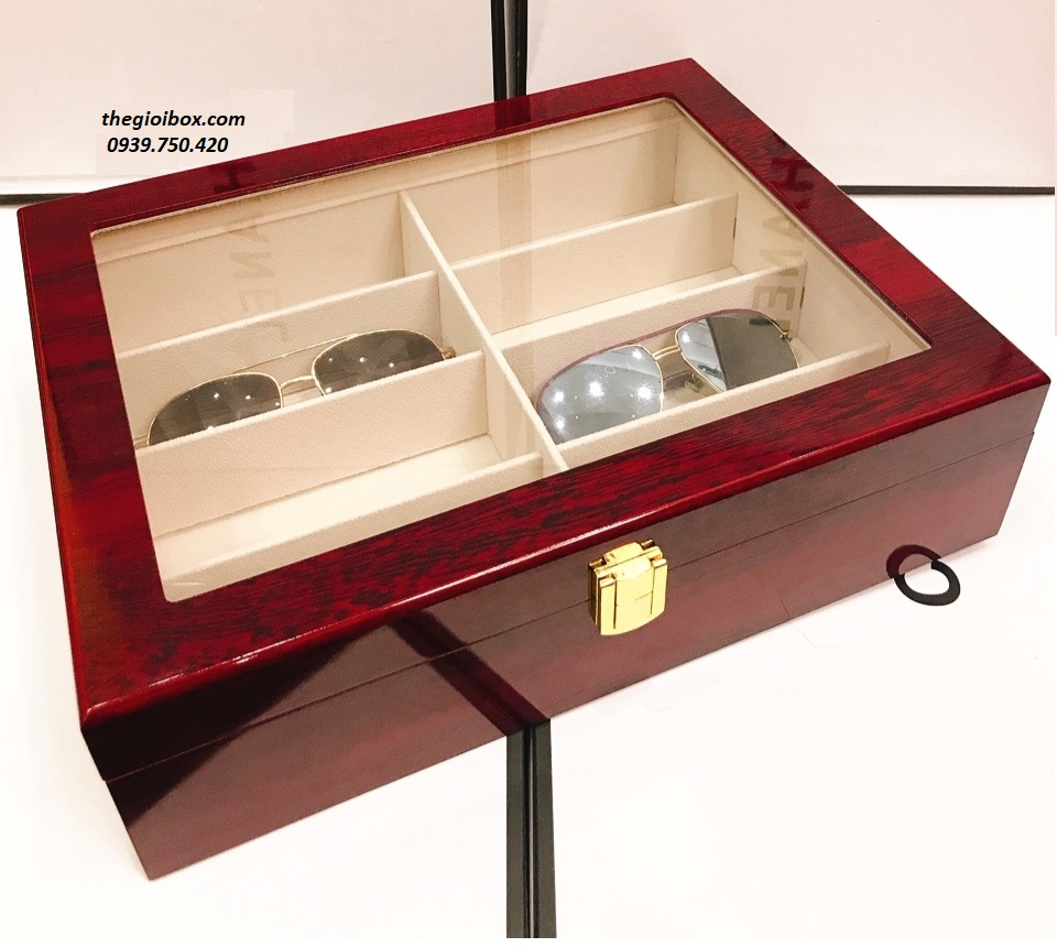 Hộp đựng mắt kính vỏ gỗ cao cấp 8 ngăn