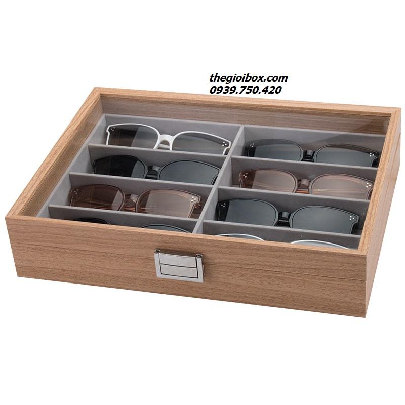 hộp đựng mắt kính, kính mắt 8 ngăn bằng gỗ đẹp