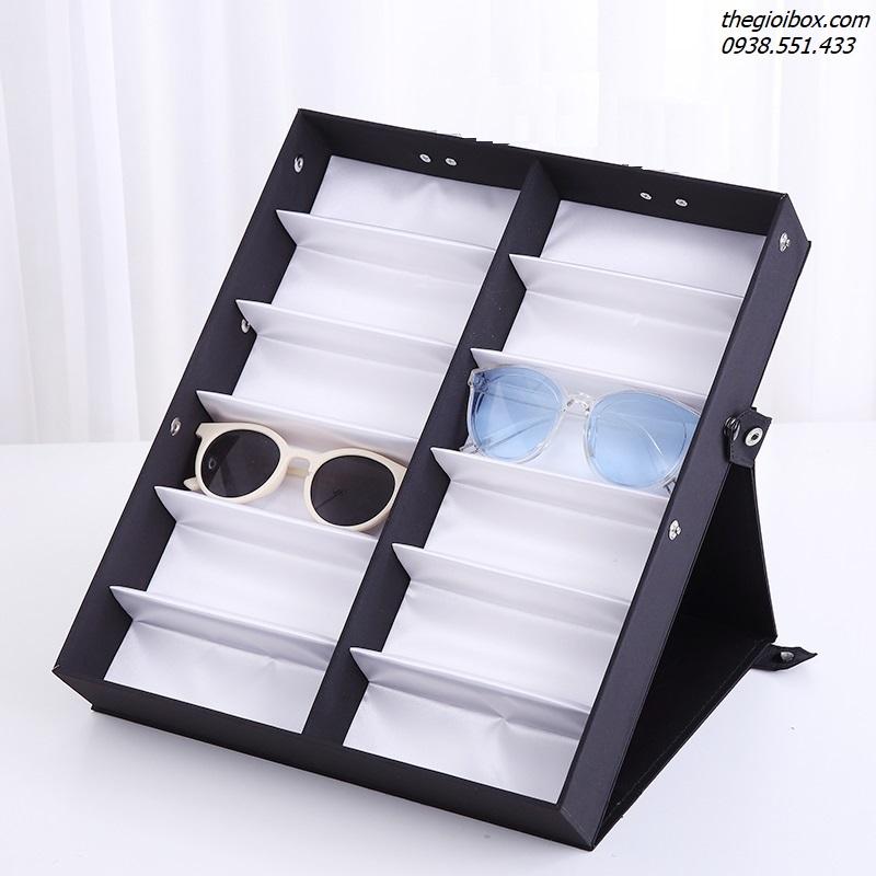 khay kệ trưng bày kính mắt 12 ngăn có nắp chống bụi
