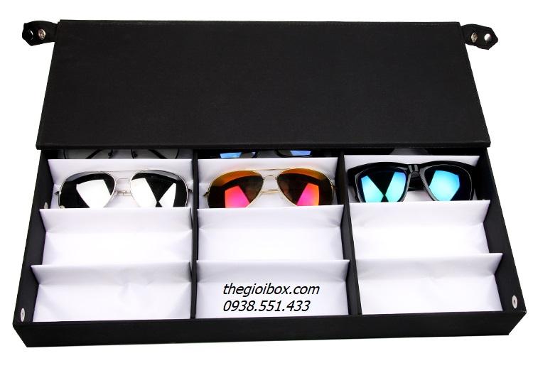 khay kệ hộp trưng bày kính mắt 18 ngăn có nắp chống bụi