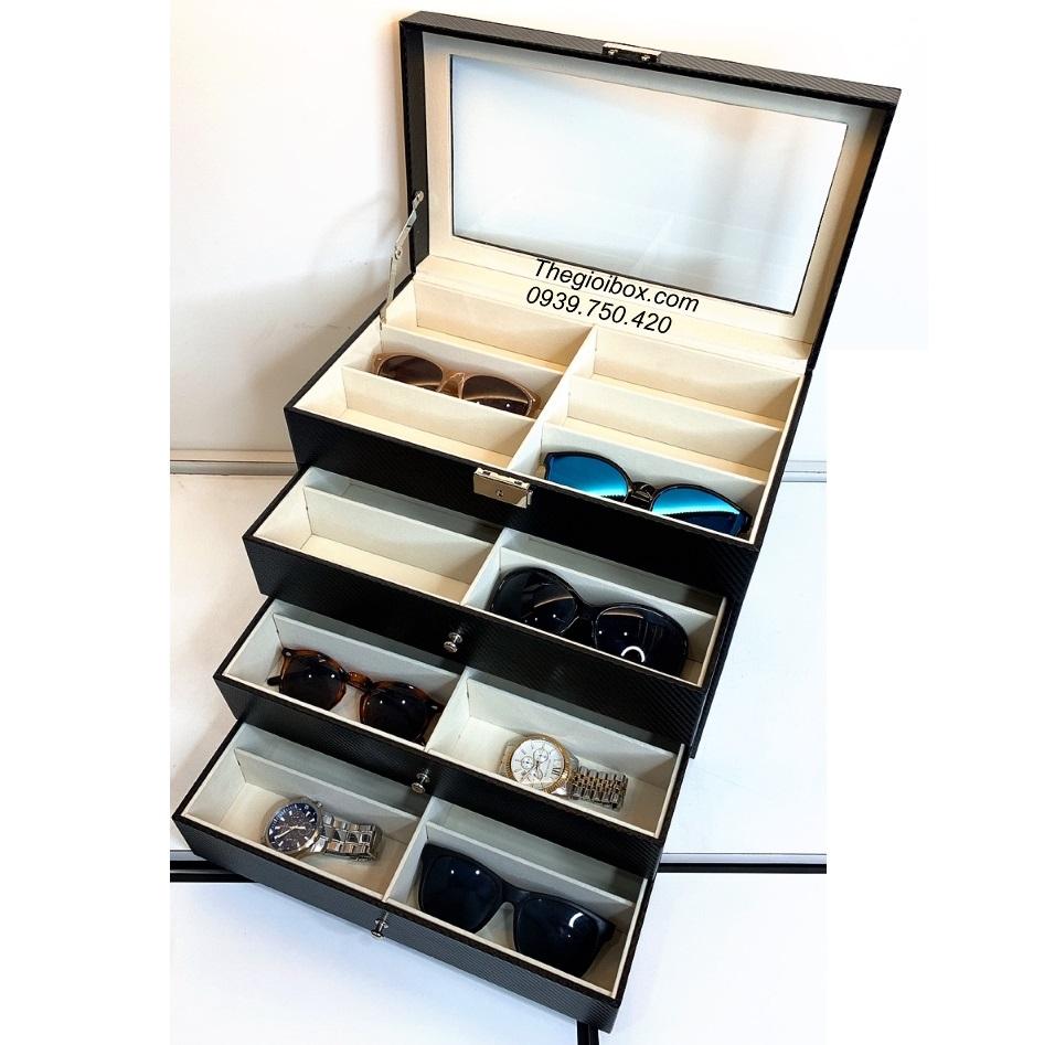 hộp kệ đựng mắt kính 24 ngăn có nắp chống bụi nhiều tầng
