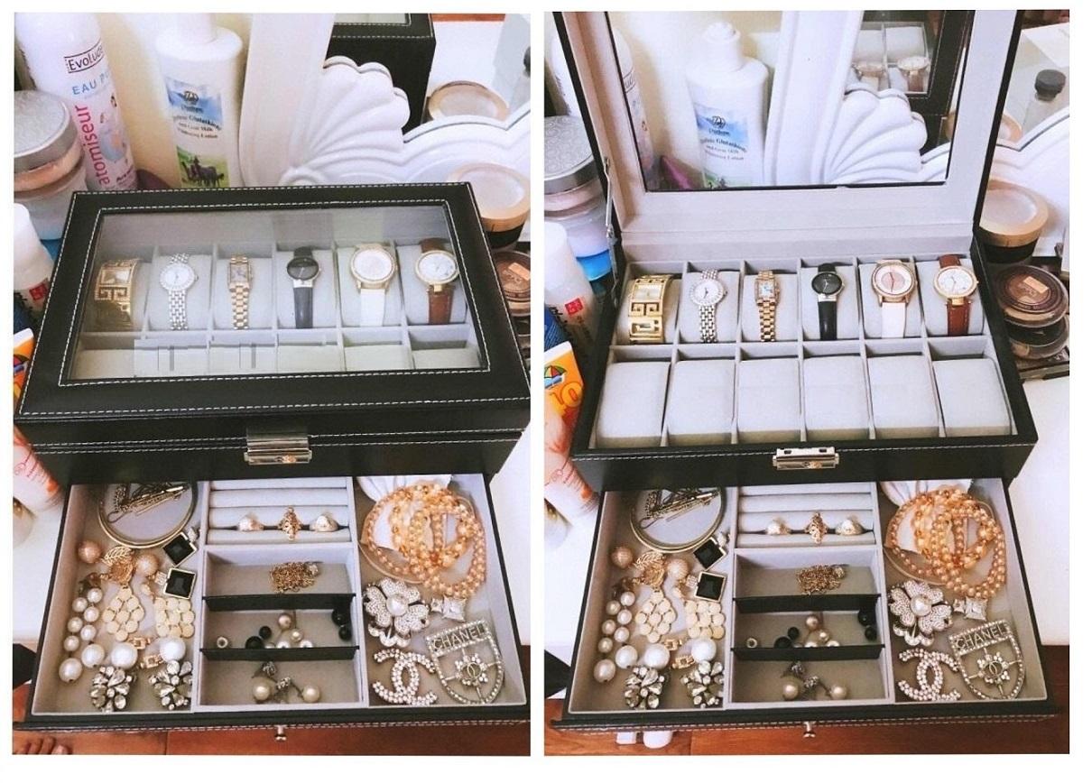 Hộp đựng đồng hồ và trang sức 2 tầng bằng da cao cấp, giá rẻ tphcm